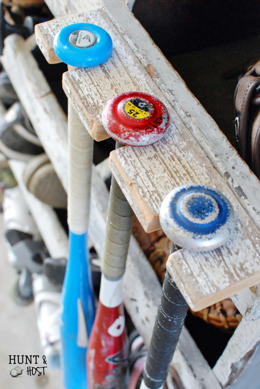 Diy Baseball Bat Rack Storage Solution Hunt And Host